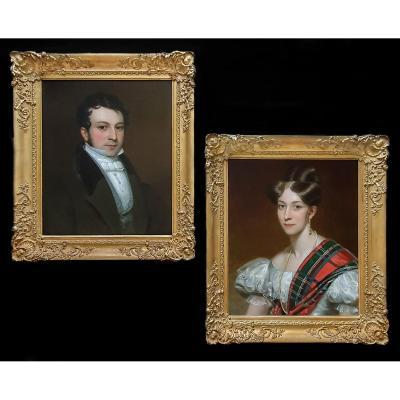 Paire (2) De Portraits - Edmund Lloyd (1796-1855) Et Catherine Lloyd (1808-1878) Vers 1833/43