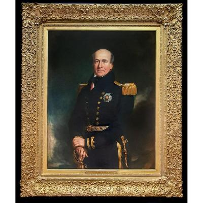 Portrait Of Vice Admiral Sir John Chambers White (c.1770-1845), Signed & Dated 1840, 149x124cm