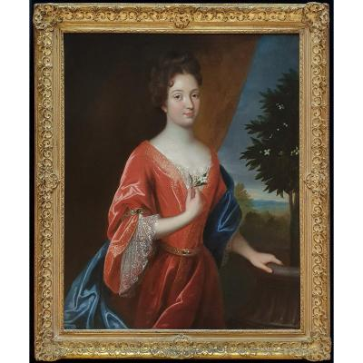 Portrait Of A Lady Holding An Orange Blossom C.1695; Circle Of Jean-baptiste Santerre 1651–1717