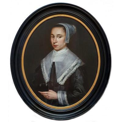 Portrait Of A Lady C.1645-1650; Attributed To Dirck Dircksz Van Santvoort (c.1609-c.1680)