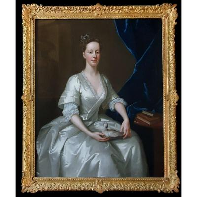 Dated 1736 Portrait Of A Lady With A Dove; Signed Willem Verelst (c.1704-1752)