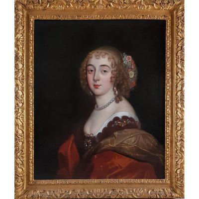 Portrait De La Comtesse De Sunderland Au XVIIe Siècle; Beau Cadre Du 17ème Siècle
