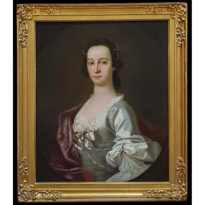Portrait Of A Lady In A Silk Dress With Pearls Circa 1750; Follower Of Allan Ramsay (1713-1784)