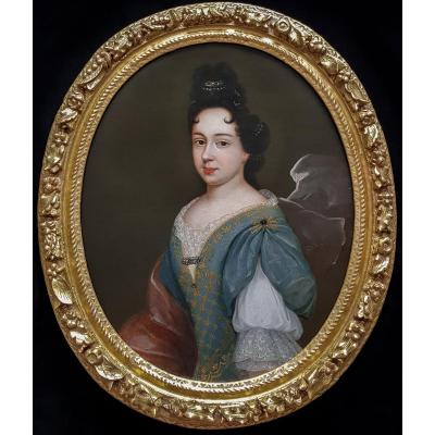 Portrait Of A Lady C.1680; Circle Of Francois De Troy (1645-1730), Carved 17th Century Frame