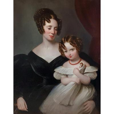 Portrait d'Une Femme Et Sa Fille, Vers 1830