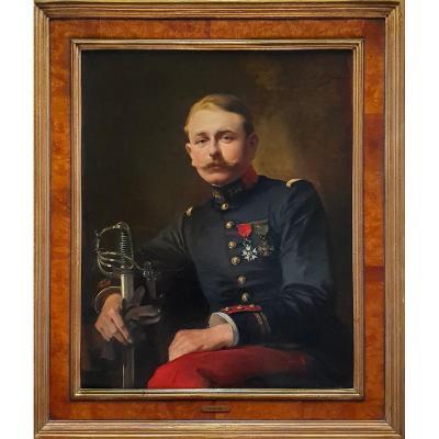 Portrait d'Un Officier Français Vers 1916, Signé Et Daté