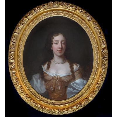 Portrait De Dame Du 17ème Siècle, Cadre Finement Sculpté