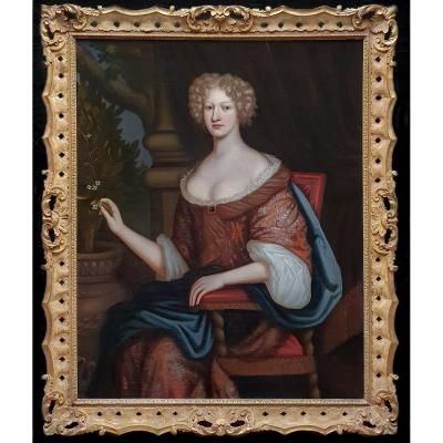 Portrait Of A Lady C.1675; Circle Of Henri Gascars (1635-1701) - Fine 18th Century Gilded Frame