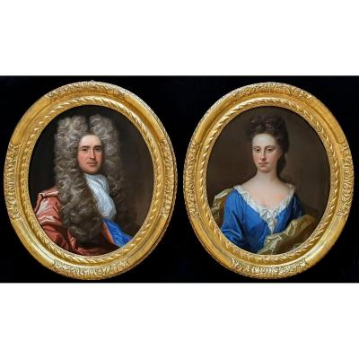 Two (2) Portraits Of A Gentleman And Lady C.1690s, Antique Oil Paintings