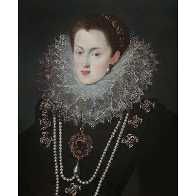 Portrait Of Margaret Of Austria, Queen Of Spain & Portugal C.1607 Antique Oil Painting