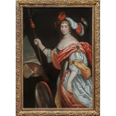 Portrait Of A Lady As Minerva C.1660; Circle Of Johannes Mytens (c.1614-1670); Antique Painting
