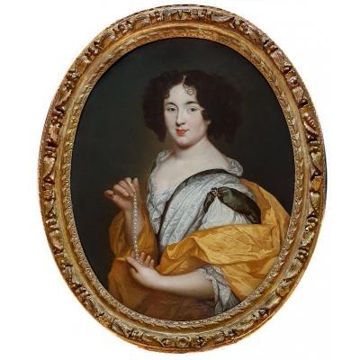 Portrait De Marie Mancini Tenant Un Collier De Perles Vers 1660, Peinture à l'Huile Antique