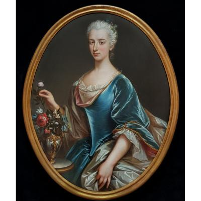 Portrait Of A Lady  With A Vase Of Flowers C.1750; Circle Of François Hubert Drouais (1727-1775
