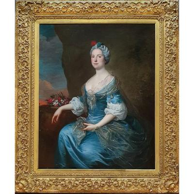 Portrait Of A Lady As Flora C.1750; Circle Of Charles-andré Van Loo (1705-1765) Oil Painting