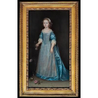 Portrait Of A Young Girl In A Blue Dress, 17th Century Follower Of Joan Carlile (c.1606-1679)