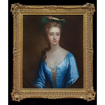 Portrait Of An Elegant Lady Circa 1720, Antique Oil Painting