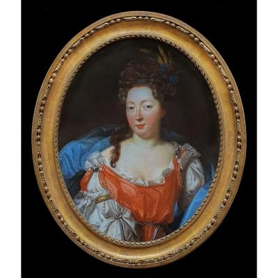 Portrait Of An Elegant Lady Circa 1690, French School, Antique Oil Painting