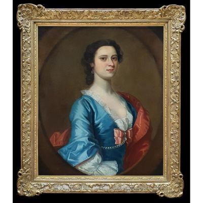 Portrait Of A Lady In A Blue Dress C.1740; Circle Of Joseph Highmore (1692-1780)