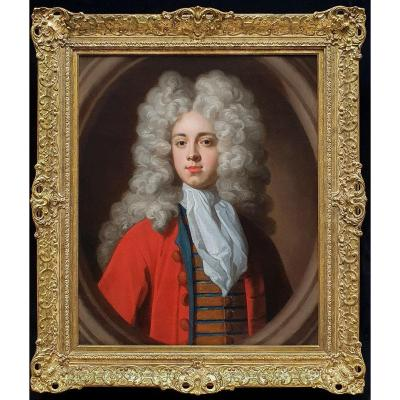 Portrait Of A Gentleman In A Red Coat C.1700; Attributed To John Kerseboom (fl.1680-1708)