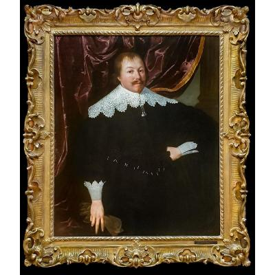 Portrait Of A Gentleman Holding A Pair Of Gloves, Circa 1630-1645; Beautiful Antique Frame