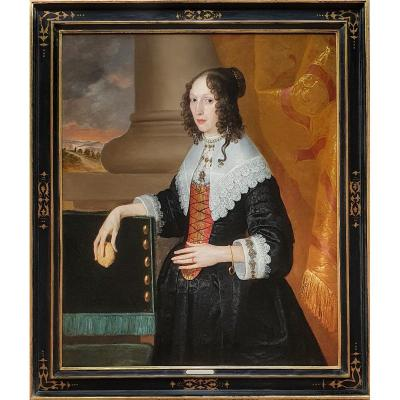Portrait d'Une Dame Debout à Côté d'Un Rideau Tenant Un Citron Vers 1640, Peinture Ancienne