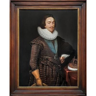 Portrait Du Roi Charles I Avec La Couronne Royale écossaise Vers 1633; Daniel Mytens