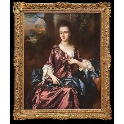 Portrait De Femme Vers 1690-1700, Huile Sur Toile Ancienne
