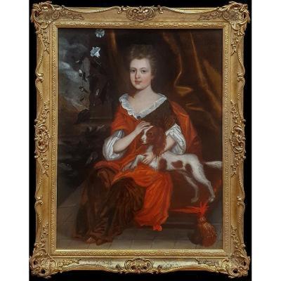 Portrait d'Une Jeune Fille à l'épagneul, Vers 1695 Peinture à l'Huile Antique