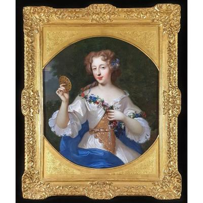 Vers 1672 Portrait De La Comtesse De Montdidier Tenant Un Miroir Orné De Bijoux
