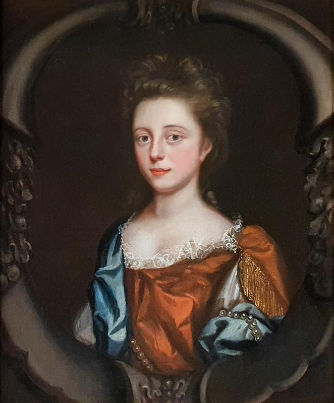 Portrait d'Une Jeune Femme En Robe Rousse Avec Un Foulard Bleu Vers 1680-photo-3