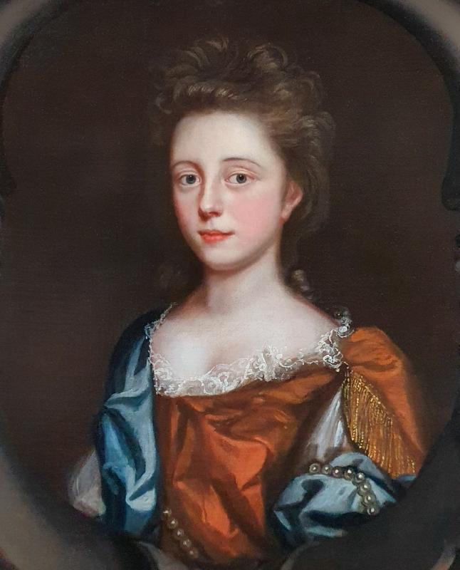 Portrait d'Une Jeune Femme En Robe Rousse Avec Un Foulard Bleu Vers 1680-photo-4