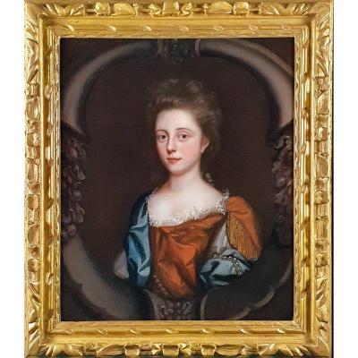 Portrait d'Une Jeune Femme En Robe Rousse Avec Un Foulard Bleu Vers 1680