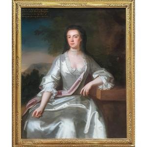 Vers 1728 Portrait De Cecilia Scott (1682-1764), Grande Huile Sur Toile Peinture Ancienne