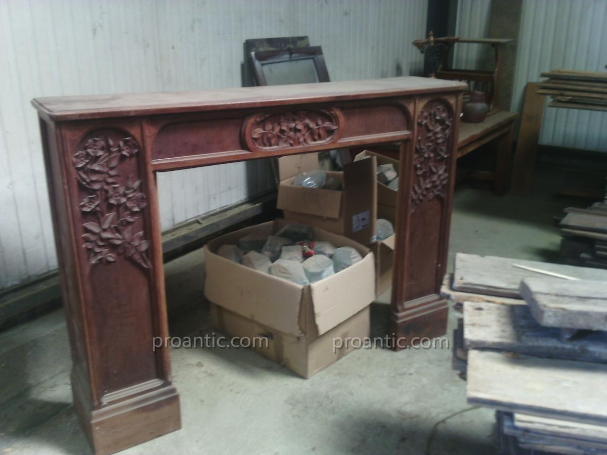 Fireplace Wooden Art Nouveau Signed Gauthier-poinsignon
