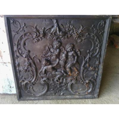 Large Fireplace Plate Cast Iron Art Durenne