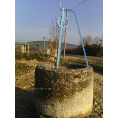 Large Round Well Old Stone With Wrought Iron Stem
