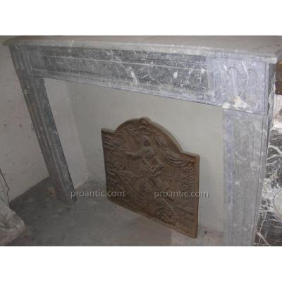 Large Antique Fireplace In Solid Marble 19th