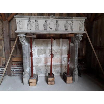 Large Antique Keyed Stone Fireplace