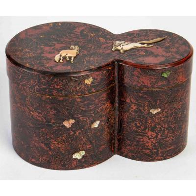 Original Kobako (boîte Laquée Couverte) De Deux Cylindres Accolés