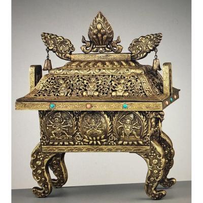 Important Brûle-parfum Sino-tibétain En Bronze Et Alliage De Cuivre