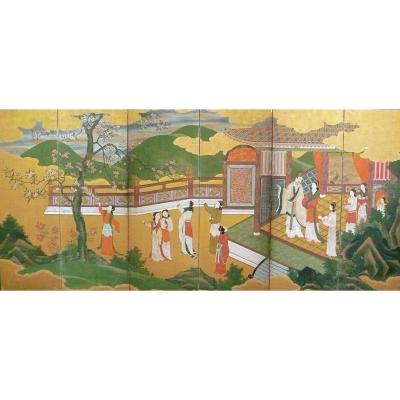 Japanese 6 Panel Screen Of Emperor Xuanzong Late 18th Century
