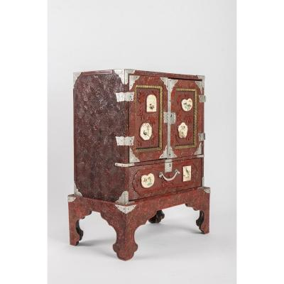 Carved Red Lacquer Cabinet
