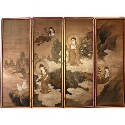 Japanese Buddhist Screen With 4 Panels On Silk
