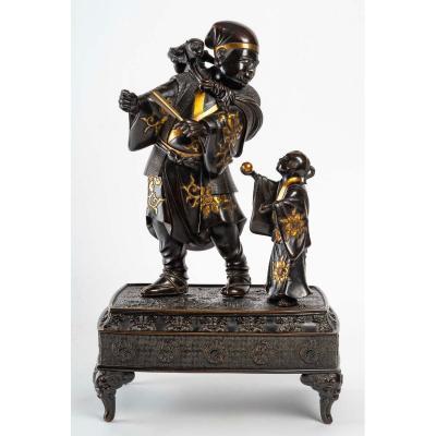 Japanese Bronze Of A Sarumawashi (monkey Showman)