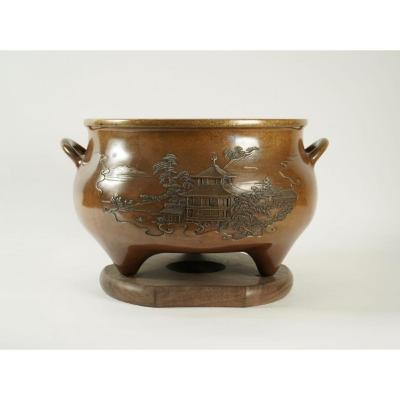 Important Brasero Japonais En Bronze Par Kanaya Saburo
