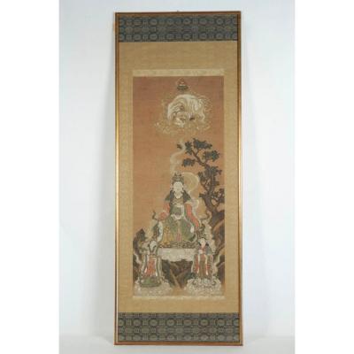 Kakemono (peinture En Rouleau) Encadré De Fugen Bosatsu 19ème Siècle