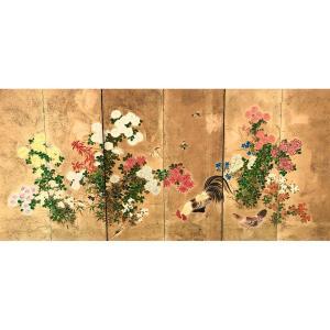 Paravent Japonais A 6 Panneaux A Décor Floral Ecole Kano