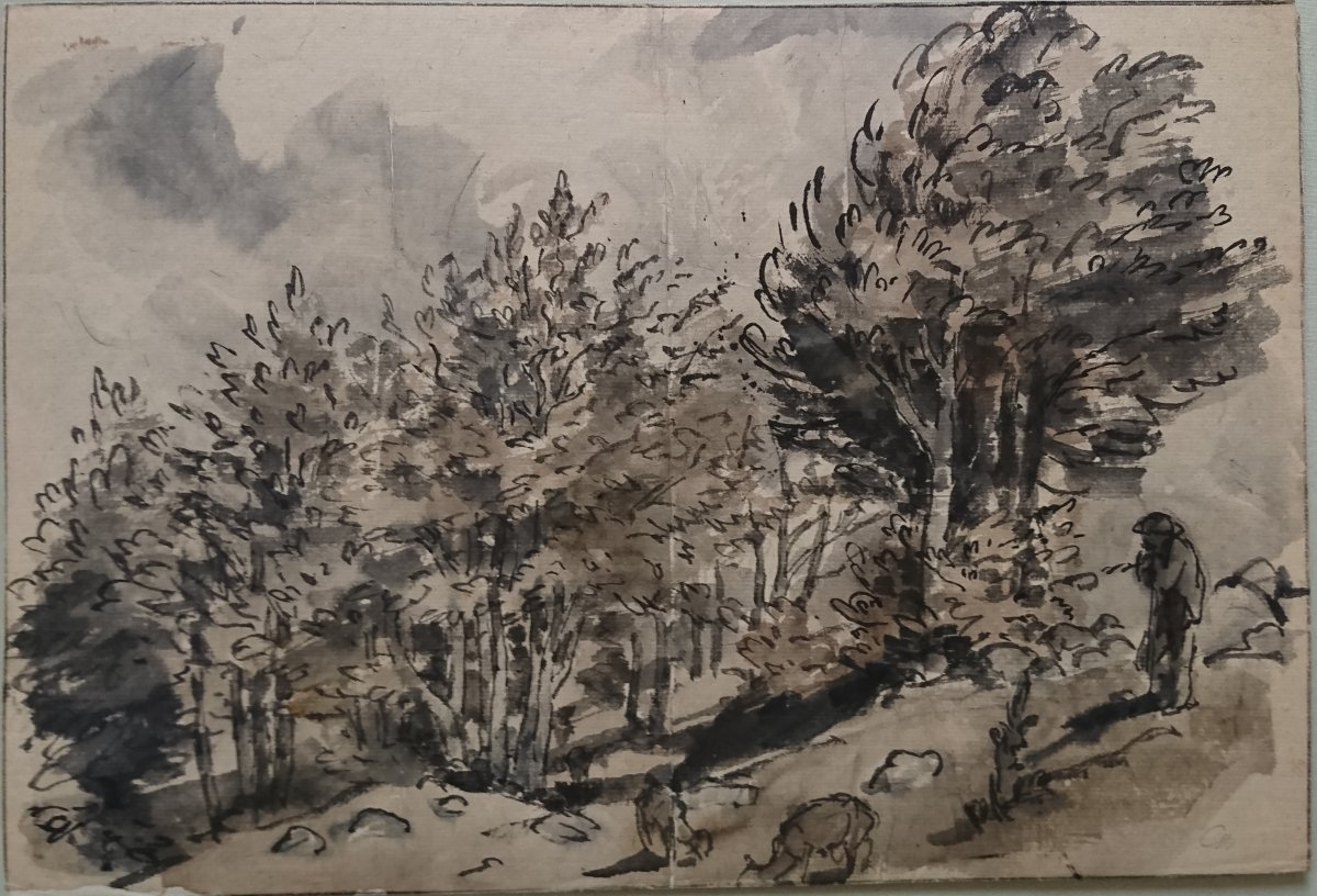 Lavis Sur Papier Japon Paysage d'Auvergne Par J Chadel-photo-2