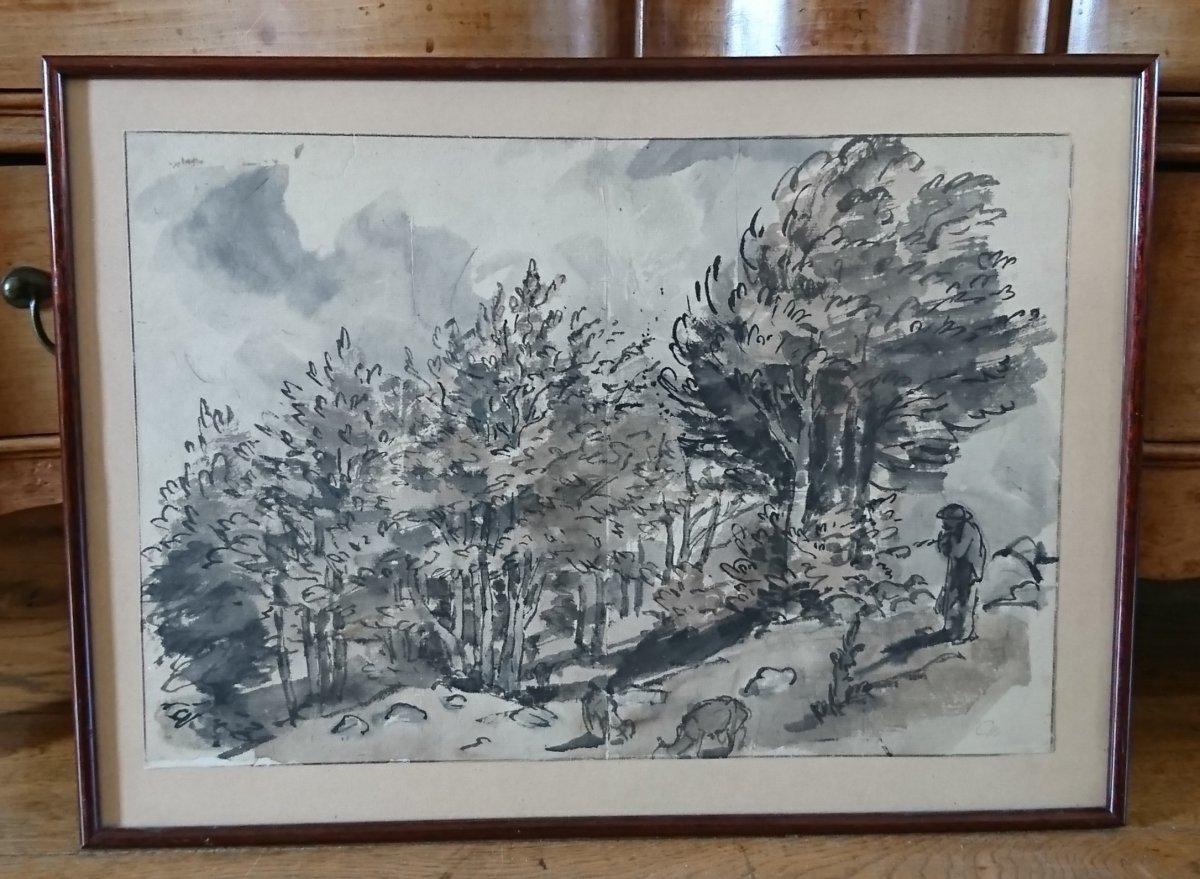 Lavis Sur Papier Japon Paysage d'Auvergne Par J Chadel