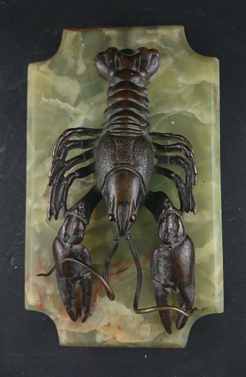 Presse Papier écrevisse Marbre Et Bronze 19 ème-photo-2